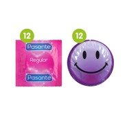 24 Mixed Condoms - 12 x Pasante Regular + 12 x EXS Smiley Faces