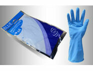 Yala Flock Lined Blue Household Latex Gloves