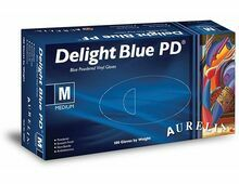 1 CASE 10 x Boxes of Aurelia Delight AQL 1.5 Blue POWDERED Vinyl Gloves