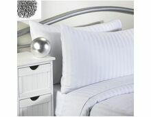 Pair of White Satin Stripe Pillow Cases