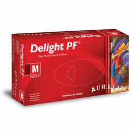 1 CASE 10 x Boxes of Aurelia Delight AQL 1.5 Clear Powder Free Vinyl Gloves