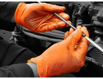 Bodyguards Orange Nitrile Powder Free Mechanical Gloves