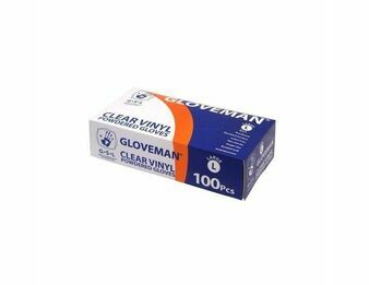 1 CASE - 10 Boxes of Gloveman Lightly Powdered Clear Vinyl Gloves