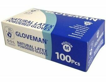 3 x Boxes of Gloveman Latex Lightly Powdered Gloves