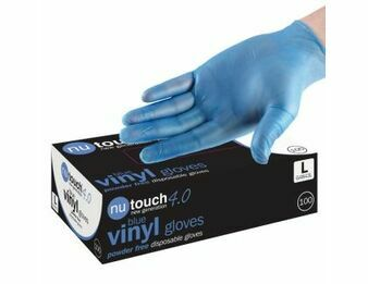 4 CASES - 40 x Boxes of Nutouch Blue Powder Free Vinyl Gloves