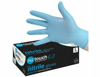 1 CASE 10 x Boxes of Nutouch 4.0 BLUE NITRILE (NON LATEX) GLOVES