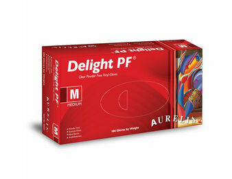 3 CASE 30 x Boxes of Aurelia Delight AQL 1.5 Clear Powder Free Vinyl Gloves