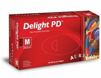 3 CASE 30 x Boxes of Aurelia Delight AQL 1.5 Clear POWDERED Vinyl Gloves