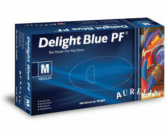 Aurelia Delight Blue Powder Free Vinyl Gloves