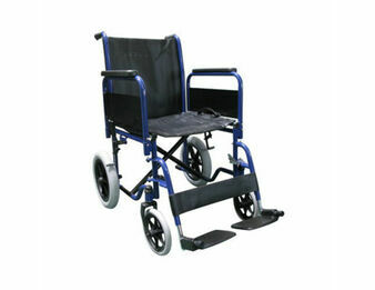 Blue Transit Wheelchair With Full Armrests