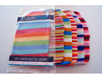 Striped Fleece Hot Water Bottle Cover
