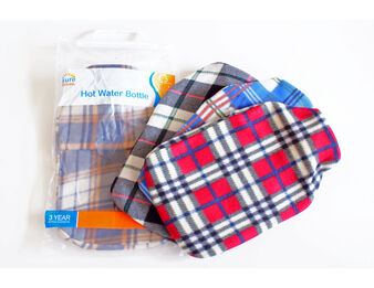 Thermoplastic Hot Water Bottle with Tartan Fleece Cover