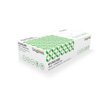 Box of 100 Uniglove Green Vinyl Powder Free Gloves