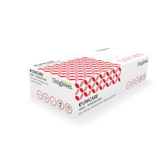 Box of 100 Uniglove Red Vinyl Powder Free Gloves
