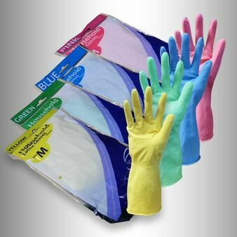 Gloveman Flock Lined Blue Household Latex Gloves