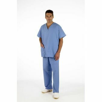 Light Blue NHS Compliant Reversible Scrub Suit Set