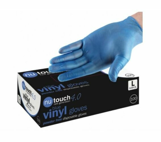 1 CASE 10 x Boxes of Nutouch Blue Powder Free Vinyl Latex Free Gloves