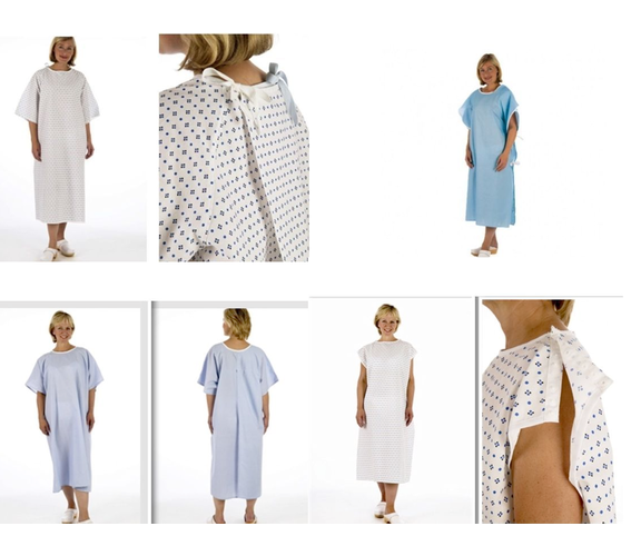 NHS Hospital Disposable Patient Modesty Gowns Blue, White, Tie ...