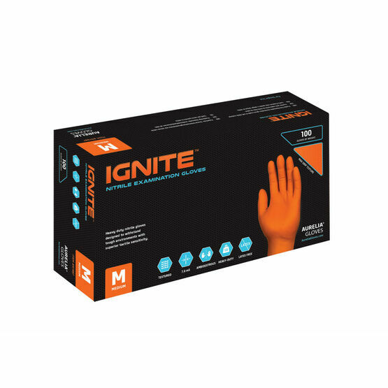 Aurelia Ignite 7.0 ml Thick HEAVY DUTY Textured Orange Nitrile Mechanical Gloves