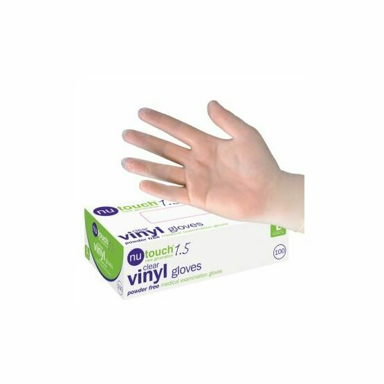 4 CASES - 40 x Boxes of Nutouch Clear Powder Free Vinyl Gloves