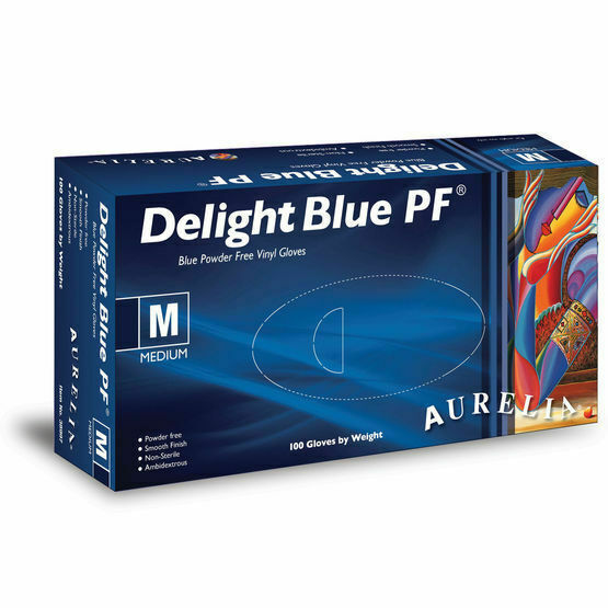 2 CASE 20 x Boxes of Aurelia Delight AQL 1.5 Blue Powder Free Vinyl Gloves