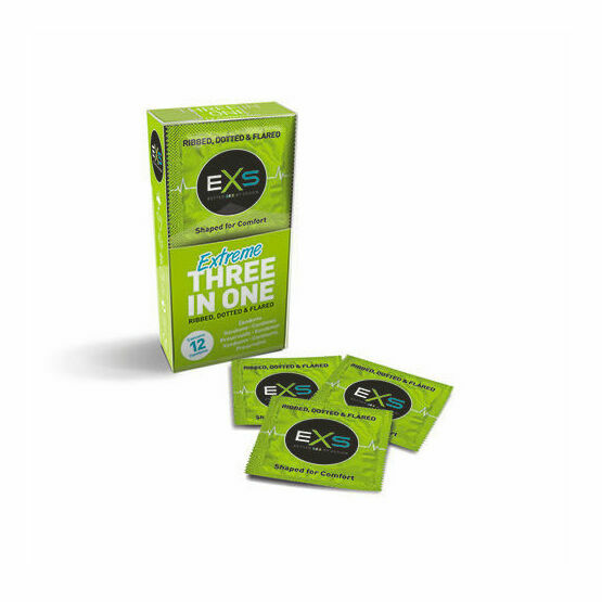 EXS Extreme 3in1 Ribbed Dotted & Flared Condoms
